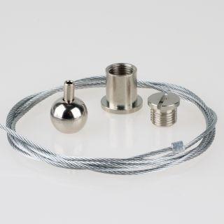 Lampen Stahlseilaufhängung 1m Stahlseil 1x Kugel Seilstopper,  1x Deckenhalter