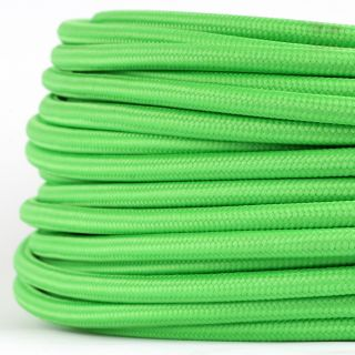 Textilkabel Stoffkabel kiwigrün 3-adrig 3x0,75 Gummischlauchleitung 3G 0,75 H03VV-F textilummantelt