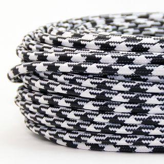 Textilkabel Stoffkabel schwarz-weiß Hahnenkamm Muster 3-adrig 3x0,75 Gummischlauchleitung 3G 0,75 H03VV-F textilummantelt
