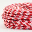 Textilkabel Stoffkabel rot-weiß Hahnenkamm Muster...