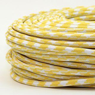 Textilkabel Stoffkabel gelb-weiß Hahnenkamm Muster 3-adrig 3x0,75 Gummischlauchleitung 3G 0,75 H03VV-F textilummantelt