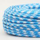 Textilkabel Stoffkabel hellblau-weiß Hahnenkamm...