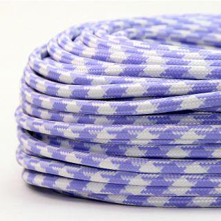 Textilkabel Stoffkabel lila-weiß Hahnenkamm Muster 3-adrig 3x0,75 Gummischlauchleitung 3G 0,75 H03VV-F textilummantelt