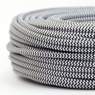 Textilkabel Stoffkabel schwarz-weiß Zick Zack Muster 3-adrig 3x0,75 Gummischlauchleitung 3G 0,75 H03VV-F textilummantelt