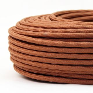 Textilkabel-Stoffkabel lehmbraun 3-adrig 3x0,75 extra dünn