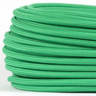Textilkabel Stoffkabel grün 3-adrig 3x0,75 Gummischlauchleitung 3G 0,75 H03VV-F textilummantelt