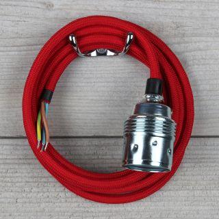 Textilkabel rot mit E27 Fassung Metall verchromt inkl. Zugentlaster Kunststoff schwarz