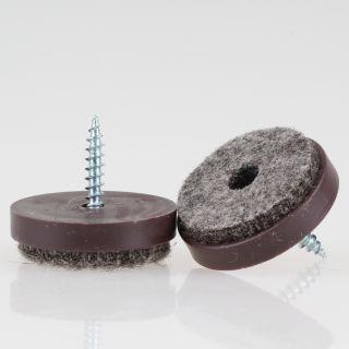 Filzgleiter 28 mm Kunststoff braun mit Schraube für Holzstühle