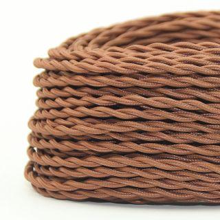 Textilkabel Stoffkabel lehmbraun 3-adrig 3x0,75 gedreht verseilt einzeln umflochten
