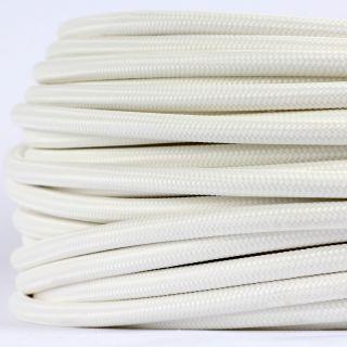 Textilkabel Stoffkabel weiss 3-adrig 3x0,75 Gummischlauchleitung 3G 0,75 H03VV-F textilummantelt