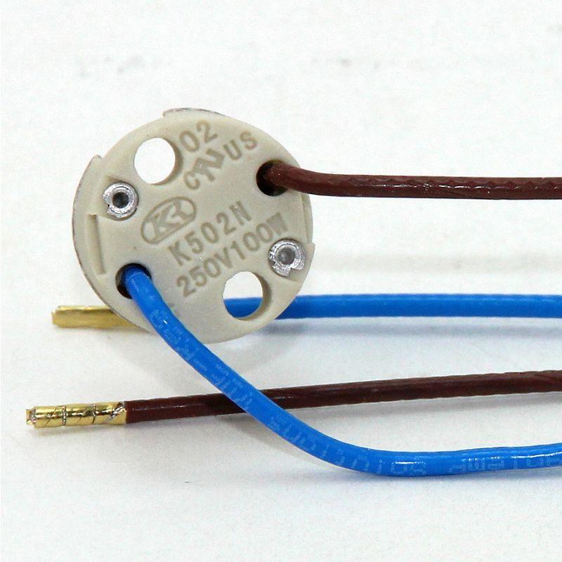 12v niedervolt halogen fassung g4 gy6 35 mit 14 cm kabel mit ptfe is. Black Bedroom Furniture Sets. Home Design Ideas