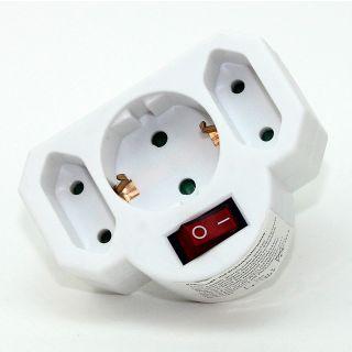 Steckdosen-Adapter weiß mit Schalter 16A/250V 2 x Eurosteckdose 1 x Schutzkontakt-Steckdose