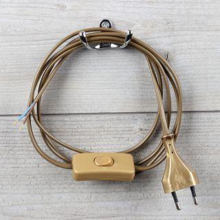 Lampen Anschlussleitung gold 2 Meter 2-adrig mit Schnurschalter Zwischenschalter und Euro-Flachstecker
