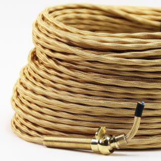 Textilkabel-Stoffkabel gold 3-adrig 3x0,75 extra dünn