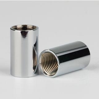 Verbindungs-Muffe Gewinde-Adapter verchromt M10x1 Innengewinde auf M10x1 Innengewinde 12x20mm