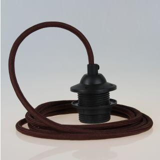 Textilkabel Lampenpendel braun mit E27 Dach-Lampenfassung schwarz