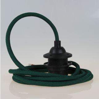 Textilkabel Lampenpendel dunkelgrün mit E27 Dach-Lampenfassung schwarz