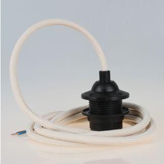 Textilkabel Lampenpendel elfenbein mit E27 Dach-Lampenfassung schwarz