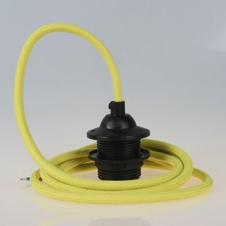 Textilkabel Lampenpendel gelb mit E27 Dach-Lampenfassung schwarz