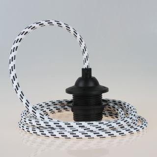 Textilkabel Lampenpendel schwarz-weiß mit E27 Dach-Lampenfassung schwarz