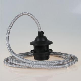 Textilkabel Lampenpendel silber mit E27 Dach-Lampenfassung schwarz