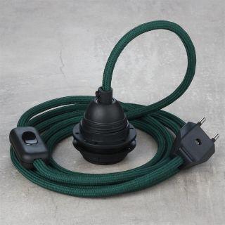 Textilkabel Lampenpendel dunkelgrün mit E27 Kunststoff Lampenfassung Schnurschalter und Euro-Flachstecker schwarz