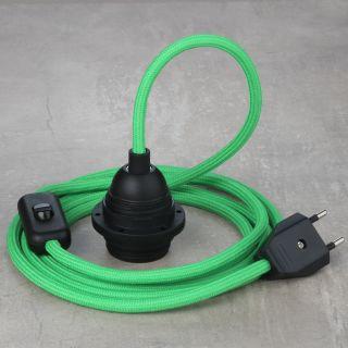 Textilkabel Lampenpendel kiwigrün mit E27 Kunststoff Lampenfassung Schnurschalter und Euro-Flachstecker schwarz